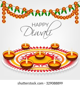 Vector illustration of decorated Diwali diya on colorful background.
