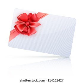Vector illustration of decorated gift card with red ribbons and bow