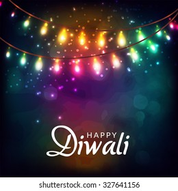 Vector illustration of decorated lighted background for Diwali.