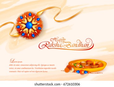 vector illustration of decorated rakhi for Indian festival Raksha Bandhan