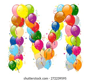 Vector illustration of decorative balloons M letter. Balloons, confetti and ribbons are on separate layers.