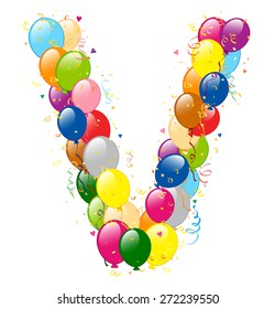 Vector illustration of decorative balloons V letter. Balloons, confetti and ribbons are on separate layers.