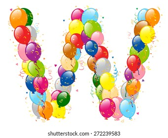 Vector illustration of decorative balloons W letter. Balloons, confetti and ribbons are on separate layers.