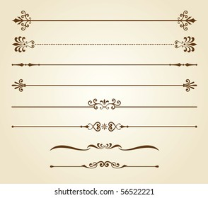 Vector illustration of decorative borders set.