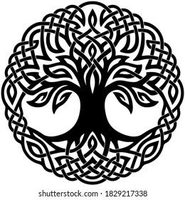 Vector illustration, decorative Celtic tree of life, black and white design
