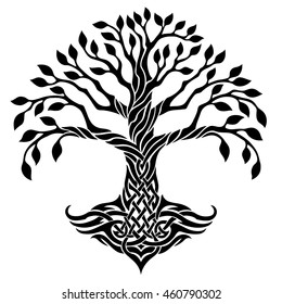 Vector illustration, decorative celtic tree of life, black and white graphics