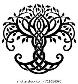 Vector illustration, decorative Celtic tree of life