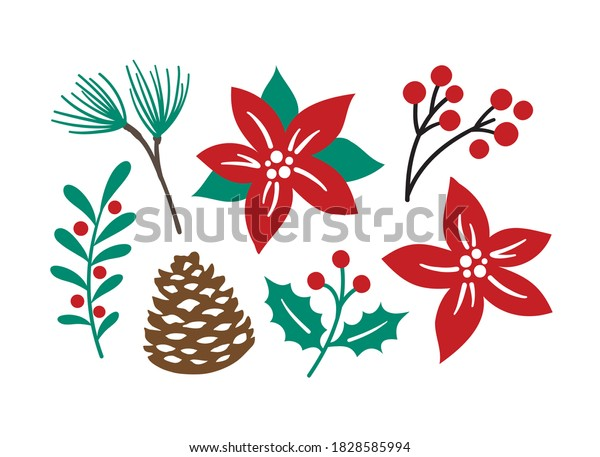 Vector illustration of decorative Christmas foliage plants including poinsettia, pine, berry branch, holly berries, and pinecone.