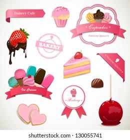 Vector Illustration of Decorative Dessert Labels and Elements