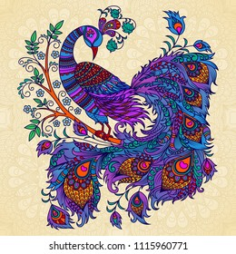 Vector illustration. Decorative firebird on a beige background. A bright fairy bird, a mythical creature phoenix on a flowering branch.