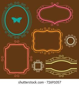 Vector illustration of a decorative frame set.