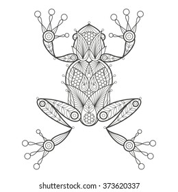 Vector illustration decorative frog on white background. Fashion trend of adult coloration. Amphibian with elements oriental motif Turkish cucumber. Black and white. Modern design.