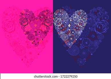 Vector illustration with decorative hearts on a bright background. Holiday Valentines for Valentine's Day