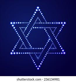 Vector illustration: decorative Jewish religion symbol David star made of blue luminous balls on dark blue background