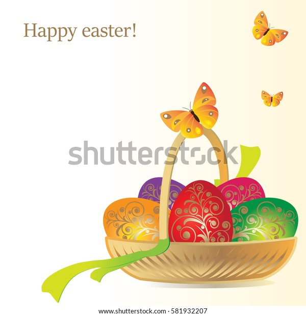 Vector illustration. Decorative painted eggs and herbs in a wicker low basket with handle. Above the basket flying yellow butterfly
