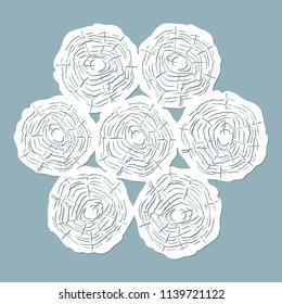 Vector illustration. Decorative panel circles, laser cutting. cut wooden panel.