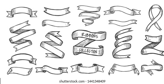 Vector illustration of decorative ribbons collection set. Banner shapes, gift and accessory tapes. Decor for wedding card, lettering and holiday. Vintage hand drawn style.