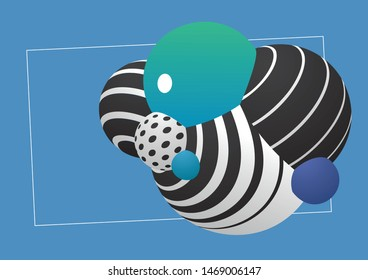 Vector illustration of decorative spheres textured geometric pattern and gradient. Template composition for graphic design with place for text