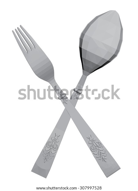Vector illustration of decorative spoons and forks. Isolated. 3D. EPS 8.