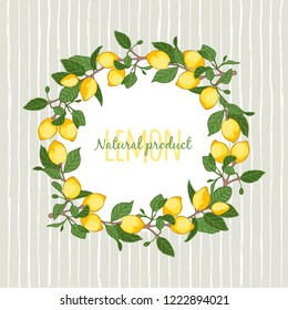 vector illustration decorative wreath of lemons,place for your lettering,  cartoon design