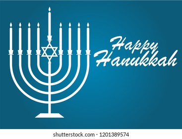 Vector illustration dedicated to the Jewish holiday of Hanukkah, menorah (traditional candelabra) and burning candles