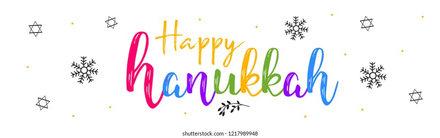 Vector illustration dedicated to the Jewish holiday of Hanukkah, menorah (traditional candelabra) and burning candles with hand lettering text of happy hanukkah sale
