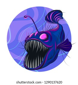Vector illustration of a deep-water angler fish in blue-violet tones. Print for printing on T-shirts and clothing, for posters and printed materials.
