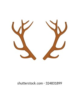 Vector illustration of deer, antler horns. Animal horn