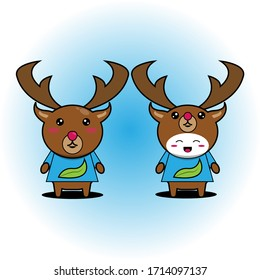 Vector illustration of deer and boy character wearing deer-shaped hats.