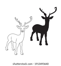 Vector illustration of deer cartoon on white background