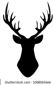 vector illustration of deer head silhouette with antlers