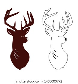 vector illustration of a deer head silhouette isolated on white background.