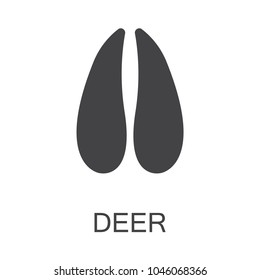Vector illustration. Deer Hoof Paw Prints Logo. Black on White background. Animal hoof paw print
