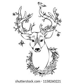 Vector illustration, deer, horns, flovers