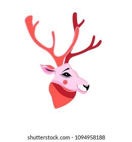 Vector illustration of deer portrait on white background