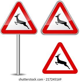 Vector illustration of deer signs on white background