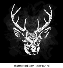 Vector illustration of deer silhouette. Calligraphic poster or postcard. Chalk design.