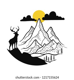 Vector illustration with deer silhouette and outdoor mountain landscape with clouds, sun and pine trees. Inspirational design for logotypes, emblems, badges, prints and stickers