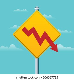 Vector illustration of a deficit warning sign with a red arrow graphic.