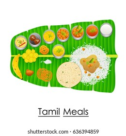 vector illustration of Delicious Tamil Meal on Banana Leaf from India