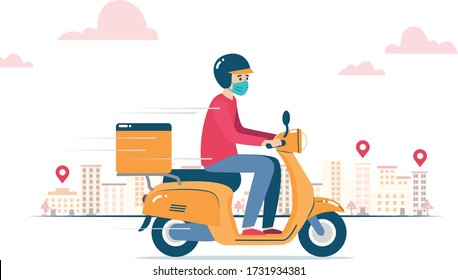 Vector illustration of a delivery man, wearing a mask because of coronavirus, delivering an order on a motorcycle