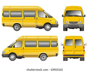 Vector illustration delivery small bus taxi. Isolated on white background. More transportation illustrations see in my portfolio.