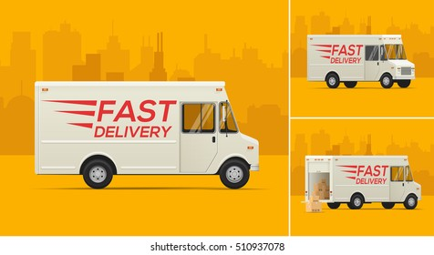 Vector Illustration of the Delivery Truck. Fast delivery truck. Delivery truck in different angles. Isometric Styled.