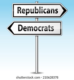 Vector illustration of democrats and republicans directional sign