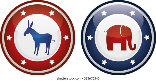 Vector illustration of democrats vs republicans mascots on a badge or shield.