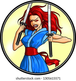 Vector illustration of a demon female warrior with Katanas,  for logo or t-shirt usage.