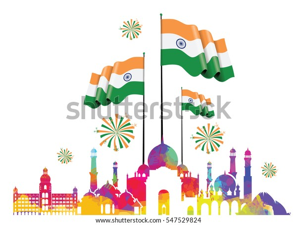 vector illustration .den the Republic of India on January 26 .67 years later, in 1950. graphic design for a holiday greeting card decoration flyers, brochures, posters. panorama of the city with flag