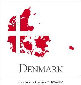Vector illustration of Denmark flag map