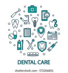 Vector illustration of dental care in a linear style. Dental clinics background for web site. Orthodontics, implants. Dental icons.