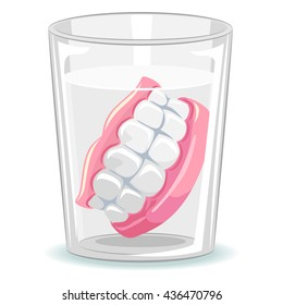 Vector Illustration of Dentures in Glass of Water